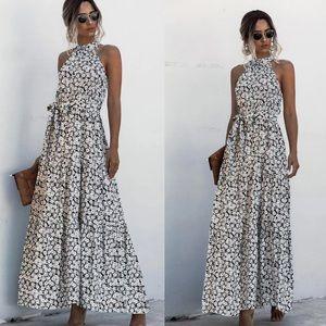 Boho gypsy dot halter maxi dress